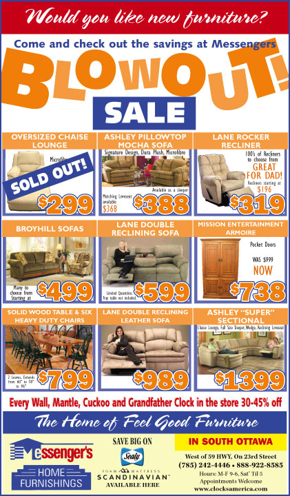 Messenger s Home Furnishings   Blowout Sale. LJWorld com   This Week s Ads  Messenger s Home Furnishings