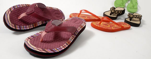 Flip Flops in a variety of styles, courtesy of Brown Shoe Fit Company, 829 Massachusetts St.