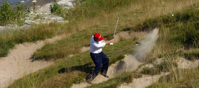 Tom Watson hits out of a bunker on the 17th hole during the U.S. Senior Open. Watson, who led by three strokes going into Sunday's final round at Whistling Straits in Haven, Wis., shot 6-over 78 and placed fourth.