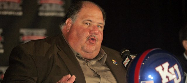 Kansas University football coach Mark Mangino answers a question. Mangino spent the day fielding queries - many of which he'd heard elsewhere - at  Big 12 Conference media days Monday in San Antonio.