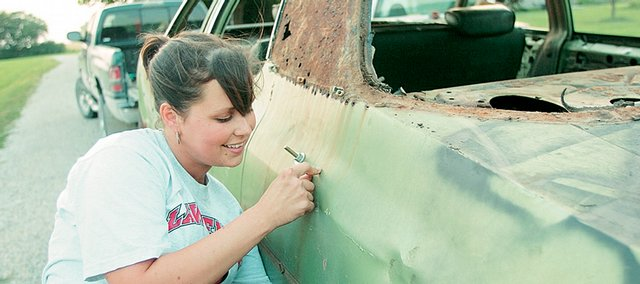 "Kristy Wempe, a longtime 4-H member and demolition derby fan, is finally getting the chance to compete in the annual event. The 25-year-old Lawrence woman purchased a 1972 Chevy Impala for the derby, and plans to paint it red. ""I joke around with the guys saying that when it comes time for my heat, they are going to have to pick me up and put me into the car because I am going to be so scared,"" she says."