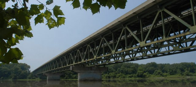 "The Interstate 70 bridges over the Kansas River, a ""fracture critical"" bridge, is scheduled to be replaced in 2008 because of deterioration in some of the steel elements. The bridges get inspected every year."