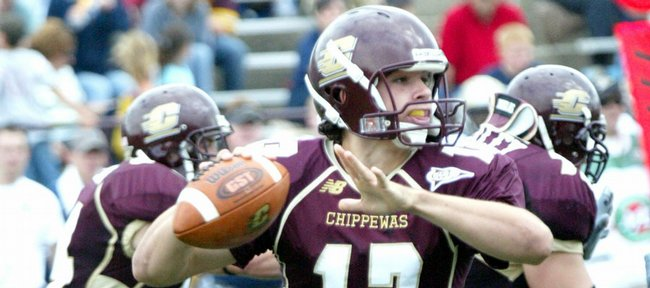 Central Michigan quarterback Dan LeFevour looks downfield. LeFevour and the Chippewas enjoyed unexpected success in 2006 but went 0-3 against BCS-conference opponents. They will look to start stronger this year when they visit Kansas University for the Sept. 1 season opener.