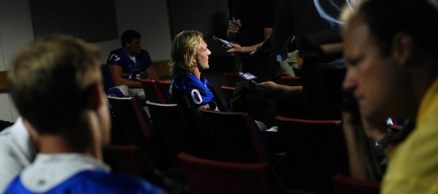 Kansas University Sophomore quarterbacks Todd Reesing, left, and Kerry Meier answer questions during media day. KU players and coaches met the press Tuesday at Hadl Auditorium.