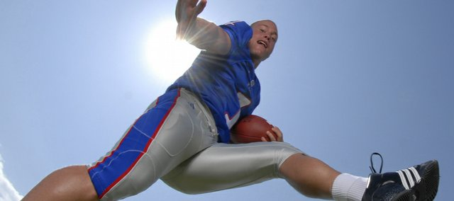 Kansas University running back Jake Sharp is one of a handful of players that will be asked to carry the rock and deliver the kind of production the Jayhawks received from Jon Cornish in 2006.