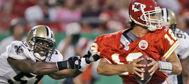 Kansas City Chiefs quarterback Brodie Croyle (12) is sacked by New Orleans Saints linebacker Brian Simmons in the first quarter of the Chiefs' 30-7 setback. The Chiefs fell to 0-3 this preseason with the setback Thursday in Kansas City, Mo.