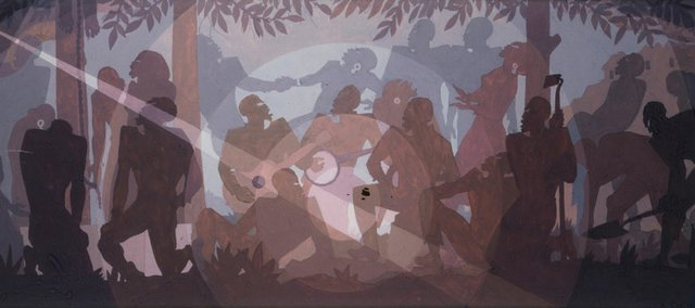 "Study for ""Aspects of Negro Life: An Idyll of the Deep South"" (1934), tempera on paper, by Aaron Douglas."