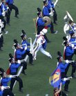 Members of the Kansas University Marching Band run through their formations during Band Day at KU on Saturday Sept. 8, 2007 at Memorial Stadium.  KU's Marching Band is among the smallest in the Big 12.