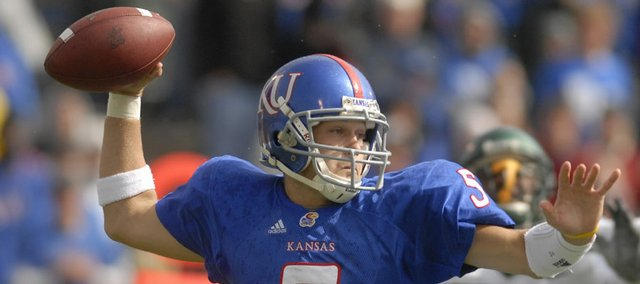 Kansas' Todd Reesing connects with a receiver against Baylor on Saturday at Memorial Stadium.