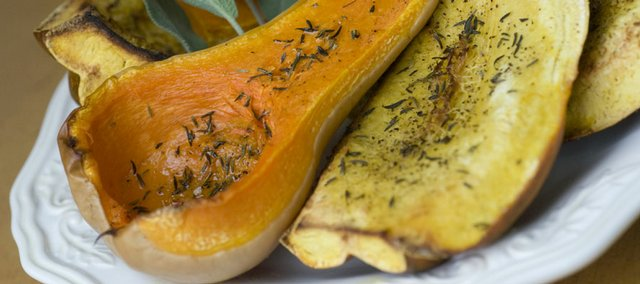 Roasted butternut squash is a simple and healthy meal for fall. The flesh tastes somewhat like pumpkin, and the squash can be substituted for pumpkin in many recipes.