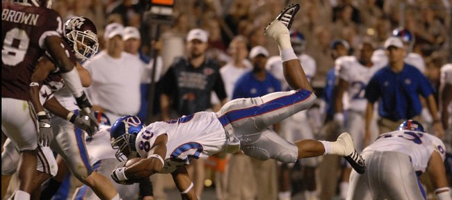 Kansas receiver Dezmon Briscoe stetches for extra yardage after a reception against Texas A&M during the second half Saturday, Oct. 27, 2007 at Kyle Field in College Station, Texas.