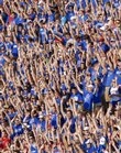 Thousands of Kansas fans and students show their support as the Jayhawks take to the field against Southeast Louisiana on Sept. 8, 2007 at Memorial Stadium. Jayhawk fans won't get the chance to wave the wheat against Missouri in Lawrence this year; instead, the Border Showdown will take place on neutral ground in Kansas City, Mo.