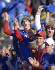 Kansas fans go wild as the Jayhawks take the field against Nebraska on Saturday, November 3, 2007.