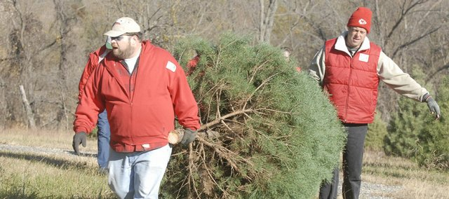 Mitchell Walther, left and Mike Richardson, who both work at the Strawberry Hill Christmas Tree Farm west of Lawrence, carry out a tree headed to the governor's mansion on Friday, November 16, 2007.