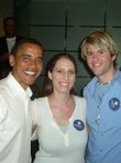 Sen. Barack Obama, left, poses with Clarissa Unger, center, a Kansas University junior from Colby, and Marc Langston, president of the KU College Democrats, Monday night, August 20, 2007, outside the Westin Hotel in Kansas City, Mo.  A group of about 80 KU students greeted Obama as he prepared for a speech to the Veterans of Foreign Wars.