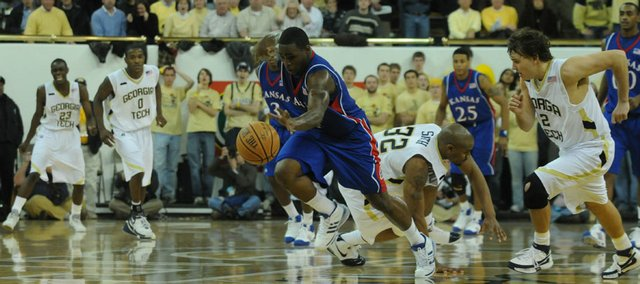 Kansas' Sherron Collins steals the ball from Georgia Tech with seconds left in the game at the Alexander Memorial Coliseum on Tuesday in Atlanta, Ga.