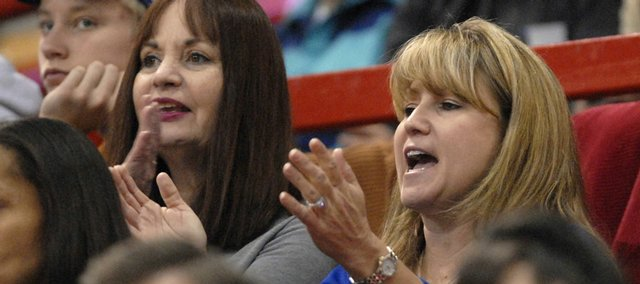 Cindy Self, right, cheers from the stands as Kansas defeats Eastern Washington during the Dec. 5 game at Allen Fieldhouse. Cindy&#39;s husband, Bill Self, is head coach for the KU men&#39;s basketball team. Cindy Self talks with the Journal-World about life in Lawrence and her role within the community.