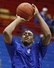 Kansas forward Darrell Arthur warms up before taking on Yale on Saturday, Dec. 29, 2007 in Allen Fieldhouse.