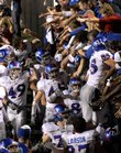 The Kansas University football team flocks to its fans after a 43-28 victory against Oklahoma State. The Jayhawks beat the Cowboys Nov. 10 at Boone Pickens Stadium in Stillwater. The KU football team&#39;s dramatic success in 2007 has been named the top local story of 2007 by the Journal-World and 6News staff.