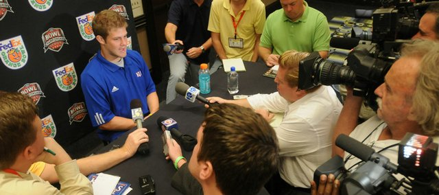 Kansas quarterback Todd Reesing meets the press at an Orange Bowl news conference. Reesing, who talked to the media Monday in Fort Lauderdale, Fla., has been a huge key to the Jayhawks' offensive success this season, but he had plenty of help.