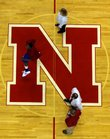 Kansas forward Darrell Arthur warms up at half-court of the Devaney Center in Lincoln, Neb., before the Jayhawks' match-up with the Nebraska Cornhuskers on Saturday.