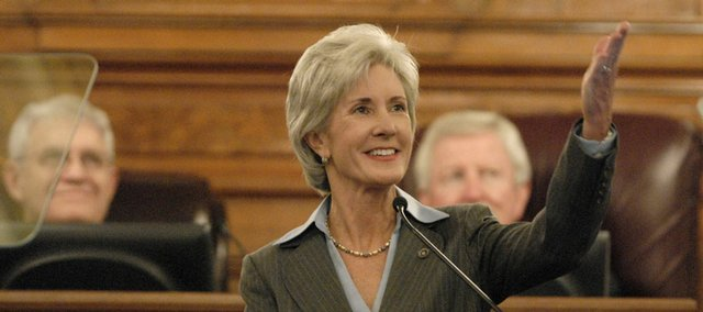 "Kansas Governor Kathleen Sebelius thanks local heroes who rose up to help their storm-devastated neighbors in the 2008 State of the State Address on Monday at the Kansas State Capitol in Topeka, Kan.  ""Kansans came together,"" Sebelius said on Monday to a packed House chamber. Democratic congressional leaders announced Tuesday that Gov. Kathleen Sebelius will deliver their party's response after President Bush's State of the Union Address later this month."