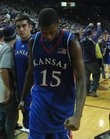 Kansas guard Mario Chalmers lowers his head as the Jayhawks leave the court following their 84-75 loss to Kansas State Wednesday, Jan. 30, 2008 at Bramlage Colliseum.