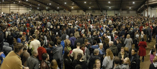 An estimated 2,218 Democratic caucus participants flood the Douglas County 4-H Fairgrounds in 2008. Barack Obama won more than 70 percent of the votes in Kansas caucuses.