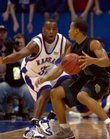 Kansas defenders Darnell Jackson, left, and Russell Robinson close in on Baylor guard Curtis Jerrells during Baylor's trip to Allen Fieldhouse in February of 2006. The Jayhawks defeated the Bears, 76-61. The teams will meet again tonight in the fieldhouse.