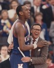 Kansas University player Danny Manning and KU coach Larry Brown embrace after winning the 1988 NCAA Men's Basketball Championship. Manning went on to play in the NBA for many years and is now an assistant coach for KU. Brown went on to a successful coaching career in the NBA, including with the Philadelphia 76ers and the Detroit Pistons, among other teams. Here in Lawrence, Brown owns commercial real estate and is an owner of the holding company that owns Lawrence Bank.