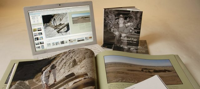 Using online self-publishing sites, Journal-World photographer Mike Yoder has created several books of photographs. Software tools make it easy to lay out, design and publish your book of photographs using your home computer and digital images. Pictured is a 7-by-7-inch soft-bound book on the Vinland Fair and an 11-by-13-inch, hard-bound book on a trip to South Dakota.