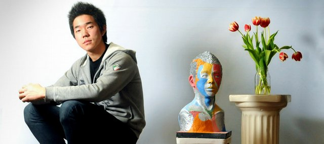 Lawrence High School senior Alex Kim is the ArtStar for the month of February. He grew up in South Korea but moved to Lawrence for his sophomore year. Kim paints, sketches and sculpts art. One of his works, a self-portrait, is shown at top right.