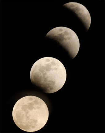 The moon is pictured in stages leading up to a full eclipse on Wednesday. Clouds rolled into Lawrence about 8:30 p.m., blocking the final stages of the eclipse, which, according to NASA, will be the last total lunar eclipse in the U.S. until Dec. 20, 2010.