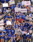 Jayhawk fans go wild as the cameras pan the crowd during a taping of ESPN's College Gameday from James Naismith Court at Allen Fieldhouse on Saturday, March 1, 2008. Students were let in around 8 a.m.