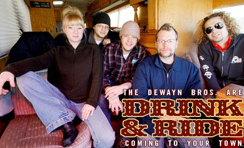 The DeWayn Brothers are, from L to R, Jamie Briggeman, Peter Gaskamp, Eric Nelson, Josh Finley, and Garrett Briggeman.