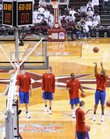 The Jayhawks shoot around prior to tipoff Saturday, March 8, 2008 at Reed Arena in College Station.