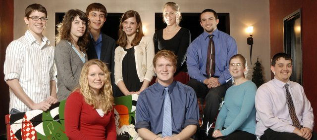 The Academic All-Stars for 2008 are, front row from left, Kayci Vickers, Eudora High School; Isaac Fisher, Perry-Lecompton High School; Stephanie Drahozal, Lawrence High School; and Jake Bontrager, Tonganoxie High School. Second row from left are Connor Hartpence, Eudora High School; Hannah Frydman and Wesley Phipps, Free State High School; Brooke Sutherland, Bishop Seabury Academy; Marianne Schroer, Baldwin High School; and Brandon Hawks, Oskaloosa High School.