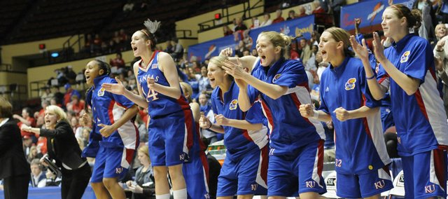 The KU bench celebrates late in the game.