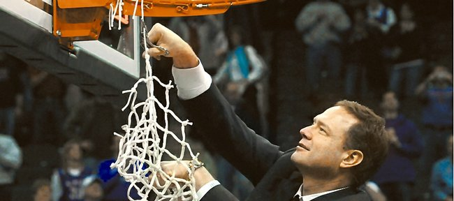 Kansas head coach Bill Self takes down the remaining strings after the Jayhawks' third consecutive Big XII Tournament Championship win Saturday, March 16, 2008 at the Sprint Center in Kansas City, Mo.
