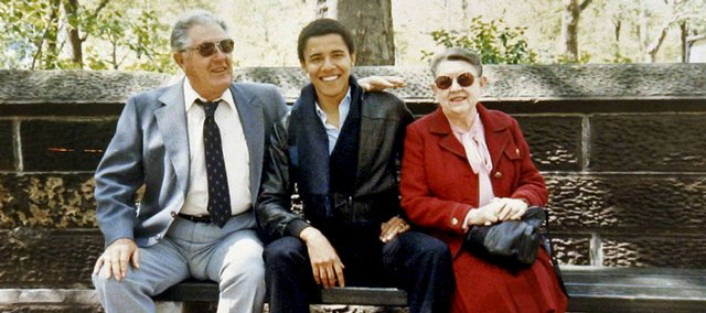 This undated photo released by Obama for America shows Barack Obama with his grandparents, Stanley and Madelyn Dunham, in New York City when Obama was a student at Columbia University. Obama confronted the nation's racial divide head-on Tuesday, addressing both black grievances and white resentment.