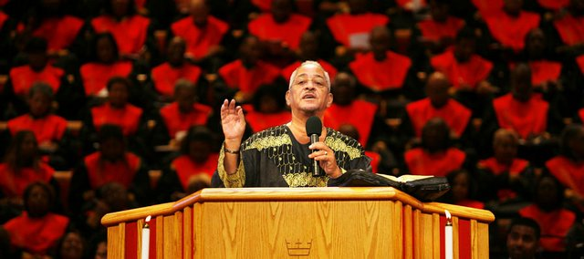 The Rev. Jeremiah Wright Jr. speaks to his congregation at the Trinity United Church of Christ in Chicago in this Oct. 22, 2006, file photo. Recent comments by Wright, pastor to Democratic presidential hopeful Sen. Barack Obama, D-Ill., have caused controversy and a direct confrontation of racial issues.