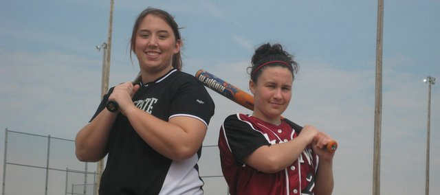 Free State senior Catherine Smith, left, and Lawrence High senior Brittaney Krug will be counted on to lead the city's high school softball teams this spring.