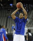 Kansas guard Brandon Rush warms up before taking on Portland State on Thursday, March 20, 2008 in the first round of the NCAA Basketball Championship in Omaha, Neb.