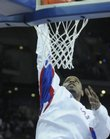 Kansas' Darnell Jackson dunks during warmups against UNLV on Saturday, March 22, 2008 in the second round of the NCAA Basketball Tournament in Omaha, Neb.