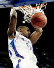 Kansas forward Darrell Arthur delivers a dunk during the first half against Portland State on Thursday, March 20, 2008 at the Qwest Center in Omaha, Nebraska.