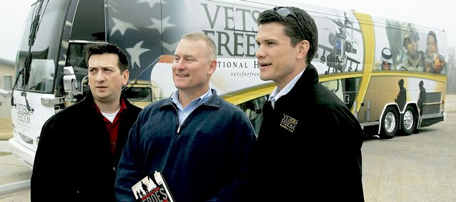 Veterans, from left, David Bellavia, Tom Parks and Pete Hegseth make a stop Thursday at the Dole Institute of Politics on the Vets For Freedom National Heroes Tour. They and other veterans are traveling across the nation to answer questions and inform the public on what is happening in Iraq and Afghanistan.