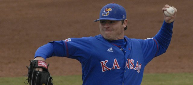 Nick Czyz delivers a pitch against Texas A&M. KU lost, 9-6, Saturday in 10 innings.