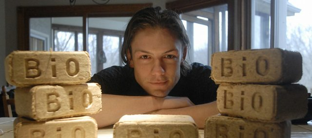 Mike Schaetzel, 25, of Lawrence, plans to work with his father, Bill Schaetzel, to manufacture bricks made of hay or straw for woodburning stoves. The bricks would be similar to those shown here, but these are made of sawdust.