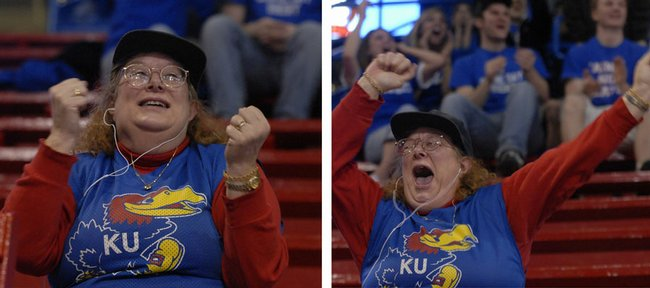 Victoria Adams, of Shawnee, cheers for the Jayhawks Saturday night at Allen Fieldhouse. Kansas University men's basketball team defeated North Carolina 84-66.