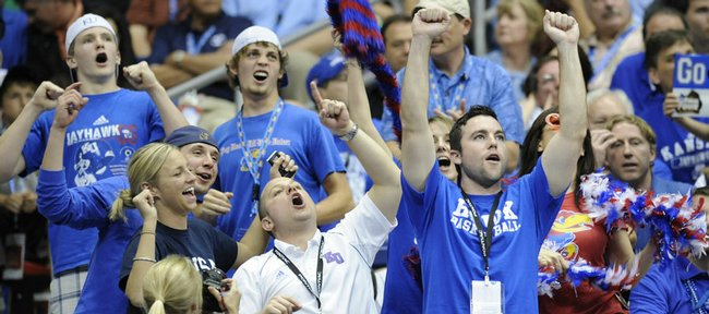 Kansas fans go wild against North Carolina in the first half on Saturday, April 5, 2008 at the Alamodome in San Antonio, Texas.